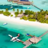 Lux South Ari Atoll aerial view 2