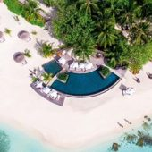 Constance Moofushi aerial pool view